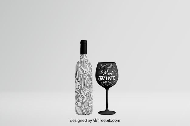 Mockup di bottiglia di vino con vetro