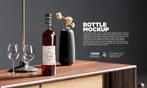 Mockup di bottiglia di vino con bicchieri