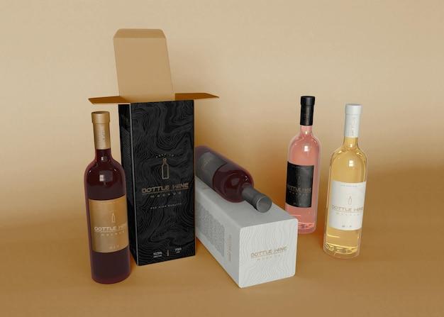 Bottiglia di vino e packaging mockup