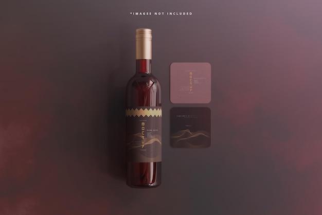 Bottiglia di vino con modello di biglietto da visita