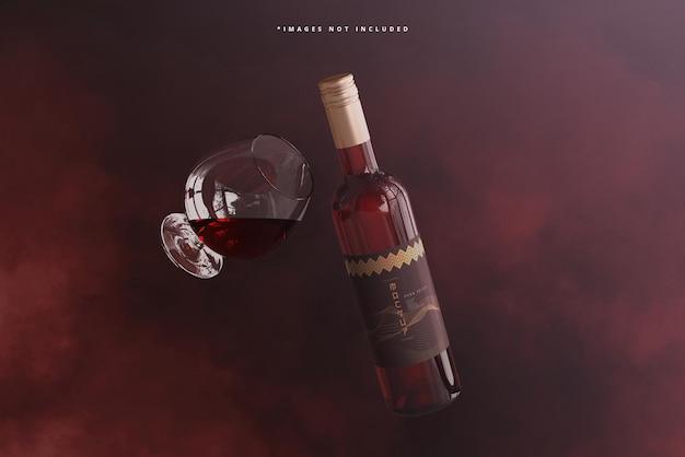 Bottiglia di vino con mockup di vetro