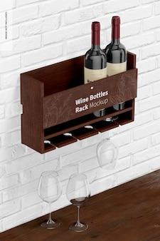 Mockup di portabottiglie di vino, prospettiva