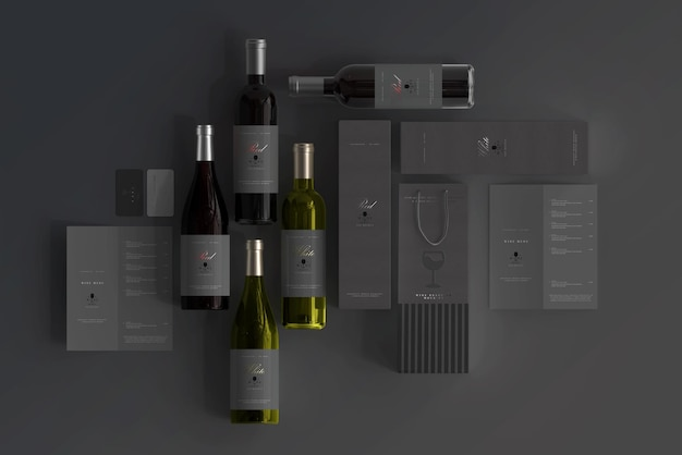 Scena del mockup del marchio del vino
