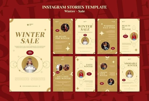 Modello di storie di instagram di design invernale