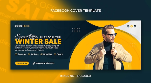Banner web orizzontale di social media di vendita di moda invernale e modello di foto di copertina di facebook