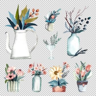Vaso da fiori invernale in illustrazione ad acquerello