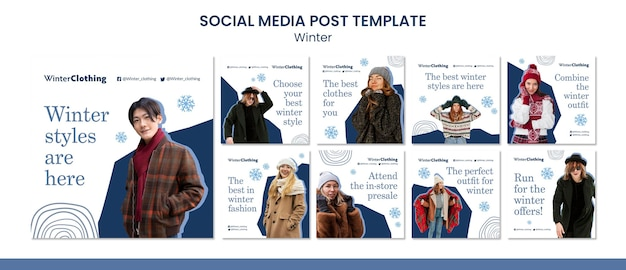 Modello di progettazione di post sui social media invernali