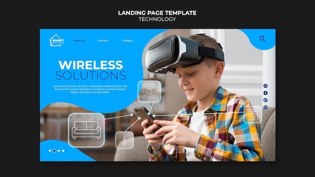 Modello di pagina di destinazione delle soluzioni wireless