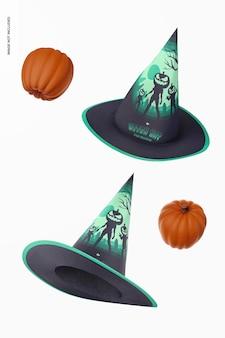 Mockup di cappelli da strega, fluttuanti