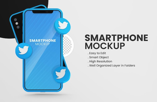 Con rendering 3d twitter icona mockup dello smartphone icon