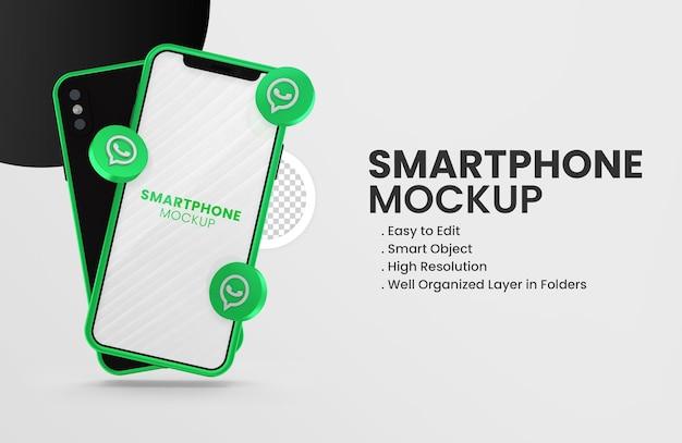 Con l'icona di whatsapp del rendering 3d sul mockup di smartphone verde