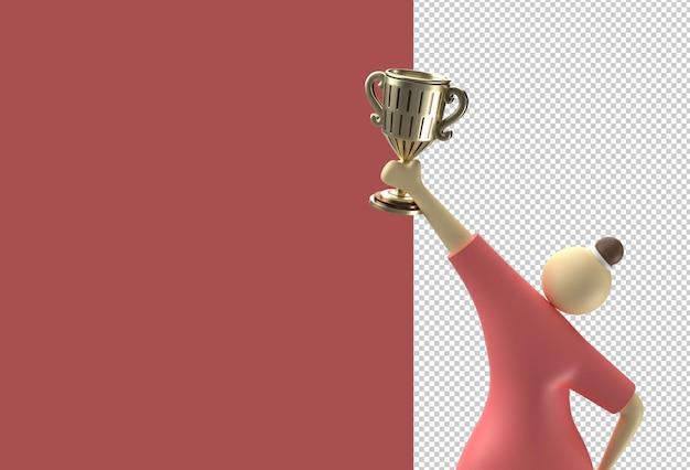Personaggi dei cartoni animati della donna con il file psd trasparente della tazza del trofeo.