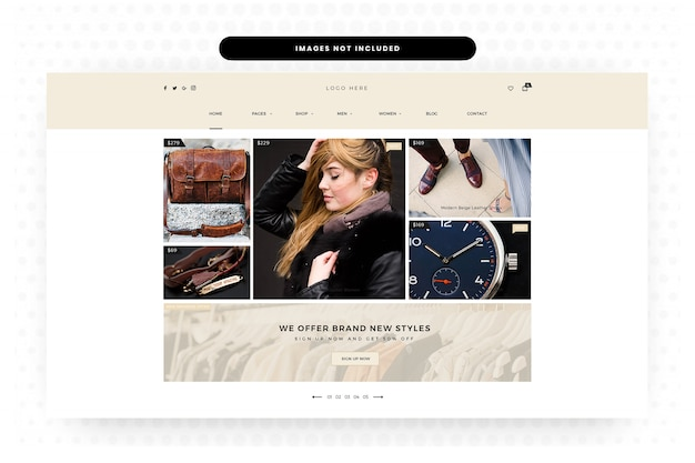 Pagina di destinazione, pagina iniziale, intestazione, cursore, e-commerce di abbigliamento e accessori donna