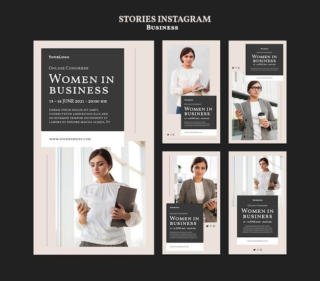 Donne nelle storie di instagram di affari