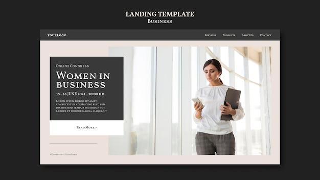 Pagina di destinazione delle donne nel mondo degli affari