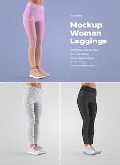 Mockup di leggins da donna. il design è facile personalizzando il design delle immagini (per ogni gamba, polsini e tutti i leggings), colora tutti i leggings e le scarpe da ginnastica (suola, lacci, scarpe da ginnastica, fori) e la trama di erica.