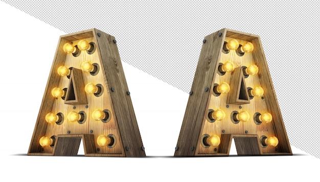 Illustrazione di legno della rappresentazione della lampadina 3d di alfabeto