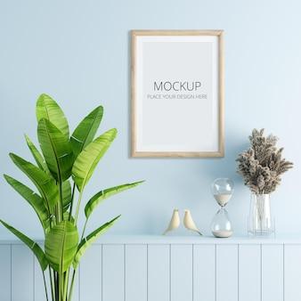 Mockup di cornice in legno nel soggiorno blu