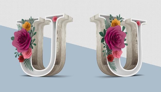 Lettera in legno con decorazioni floreali colorate