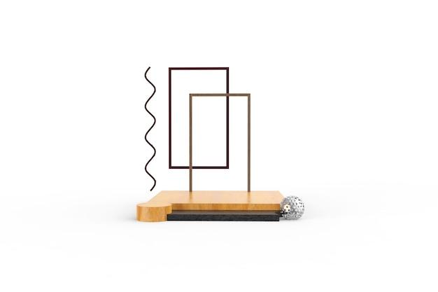 Rendering 3d di podio in legno design rendering