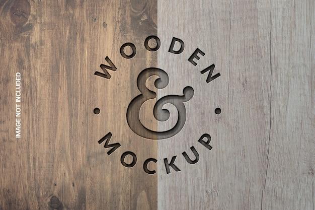 Rendering di progettazione mockup logo stampa legno Psd Premium