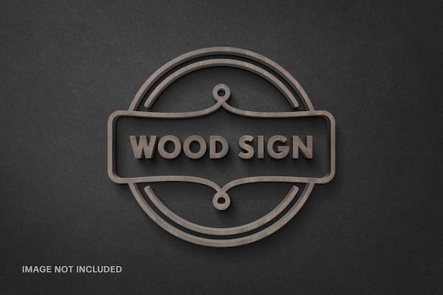 Mockup di logotipo di segno di legno