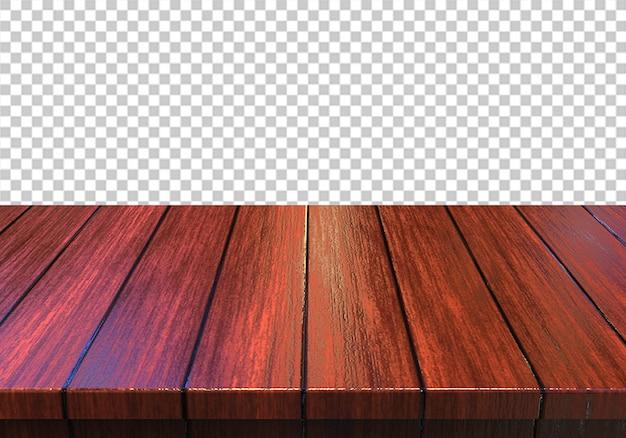 Piano d'appoggio di legno isolato su sfondo trasparente