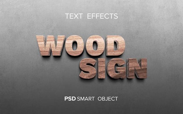 Mock-up effetto testo in legno
