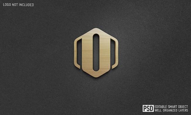 Mockup di effetto di stile del testo di logo della parete di legno 3d
