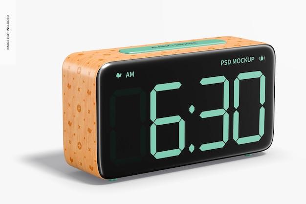 Mockup di sveglia in legno, vista da sinistra
