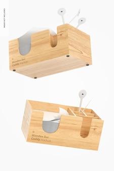 Mockup di carrello bar in legno