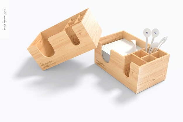 Mockup di carrello bar in legno wooden