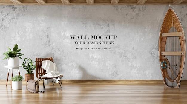 Barca in legno appoggiata al muro del mockup