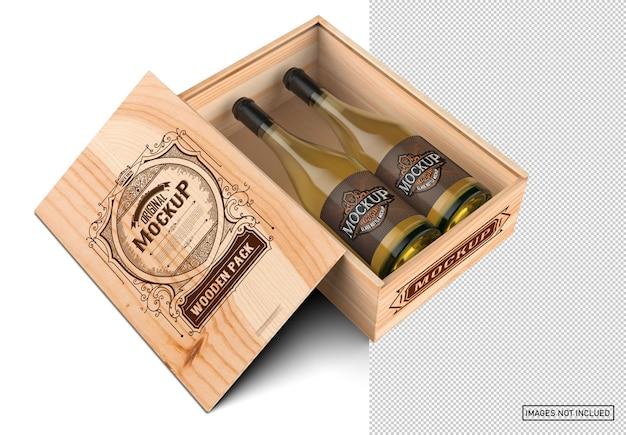 Scatola in legno con bottiglie di vino bianco