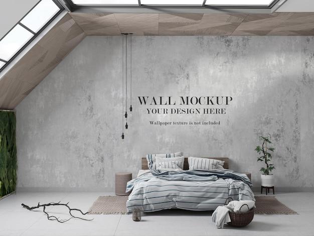Soffitto in legno mansarda parete camera da letto mockup design