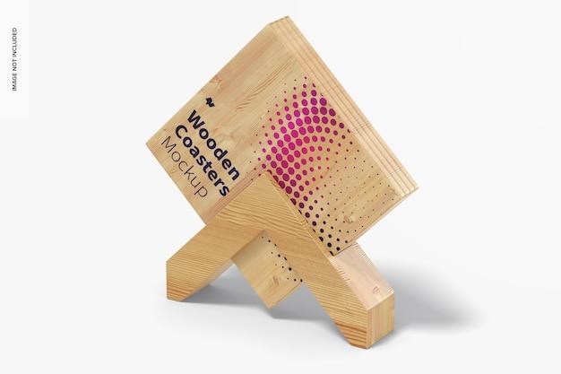Sottobicchieri in legno e scatola mockup Psd Premium