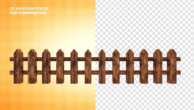 Concetto di rendering 3d di recinzione in legno