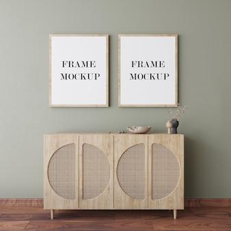 Cornici in legno sulla parete 3d rendering mockup