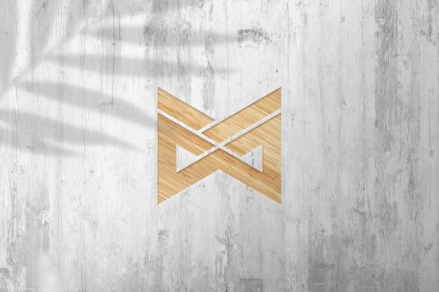 Mockup con logo in legno con effetto impresso