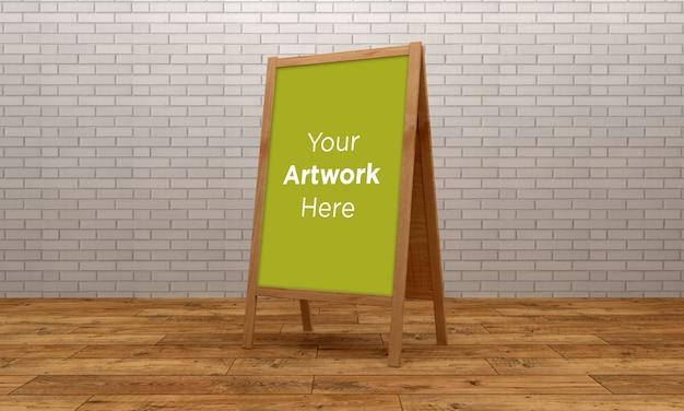 Mockup di supporto per bacheca in legno 3d rendering