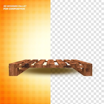 Concetto di rendering 3d di pallet di legno