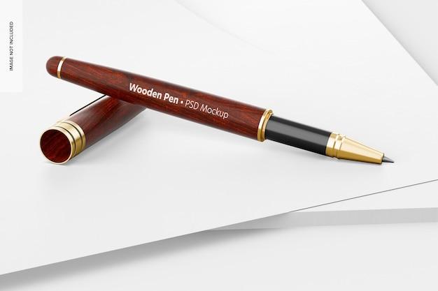 Mockup di penna in legno, prospettiva