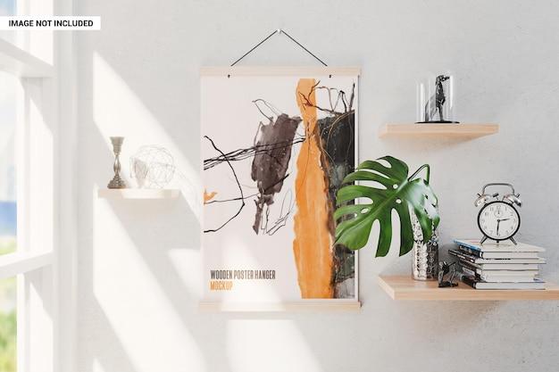 Mockup di appendiabiti in legno per poster