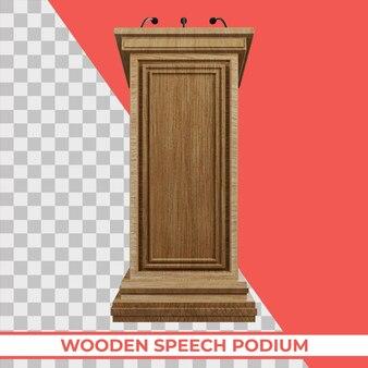 Podio in legno con tre piccoli microfoni attaccati su un rendering 3d isolato