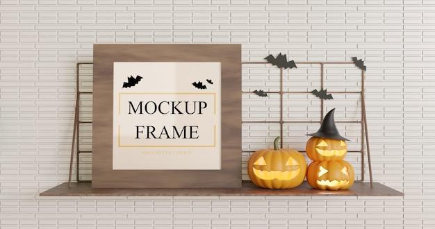 Mockup quadrato in legno halloween sul tavolo a muro