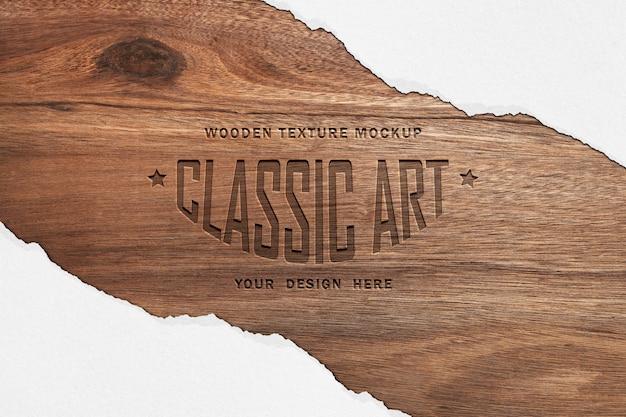 Mockup di struttura in legno ed effetto di testo in legno inciso
