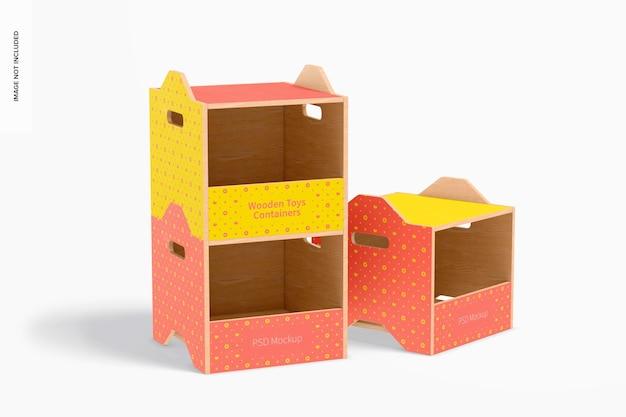 Mockup di contenitori per giocattoli in legno