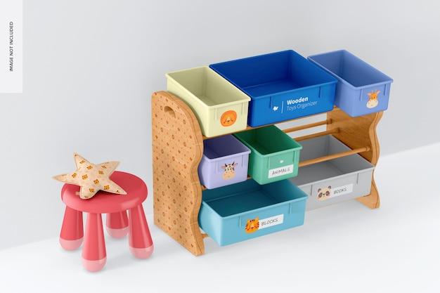 Organizzatore di giocattoli in legno con sgabello mockup