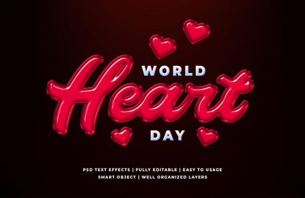 Modello di effetto di stile di testo di parola cuore giorno 3d