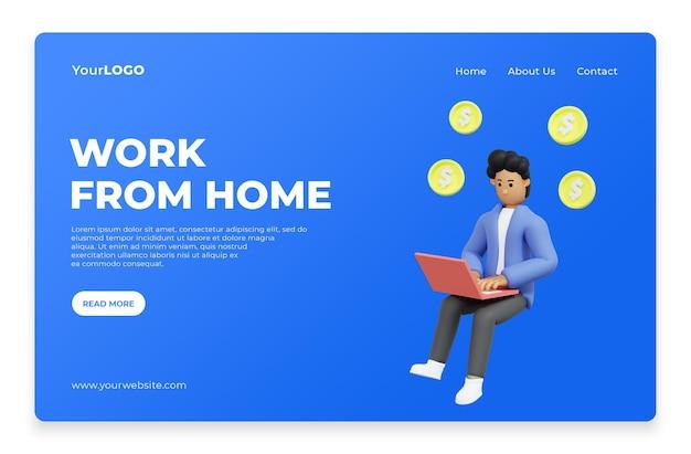 Lavora da casa per il rendering 3d della home page della pagina di destinazione psd premium